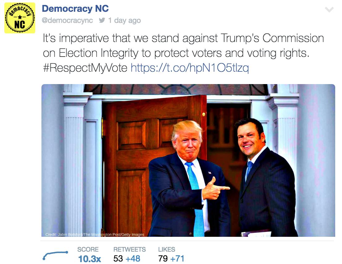 Democracy NC Pence-Kobach Twitter Post