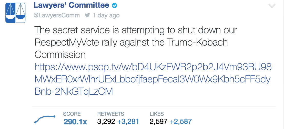 Lawyers' Committee Pence-Kobach Twitter Post