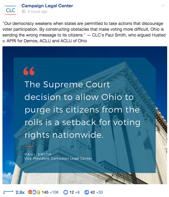 Screengrab from the Campaign Legal Center featuring a quote from Paul Smith declaring the recent Supreme Court decision is a setback for voters.