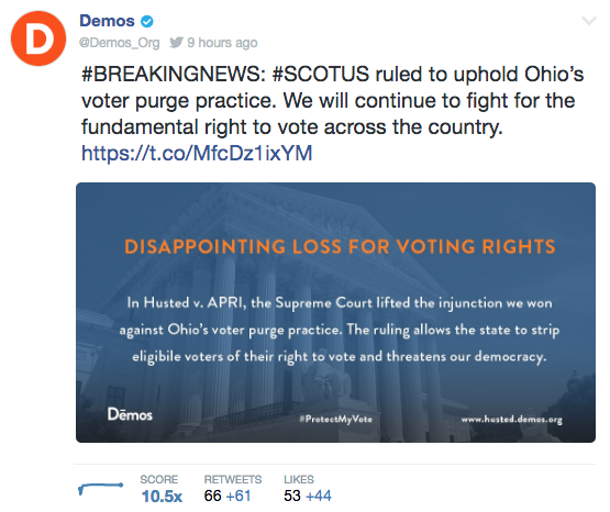 Screengrab from a tweet by Demos declaring the recent Supreme Court decision a disappointing los for voting rights.