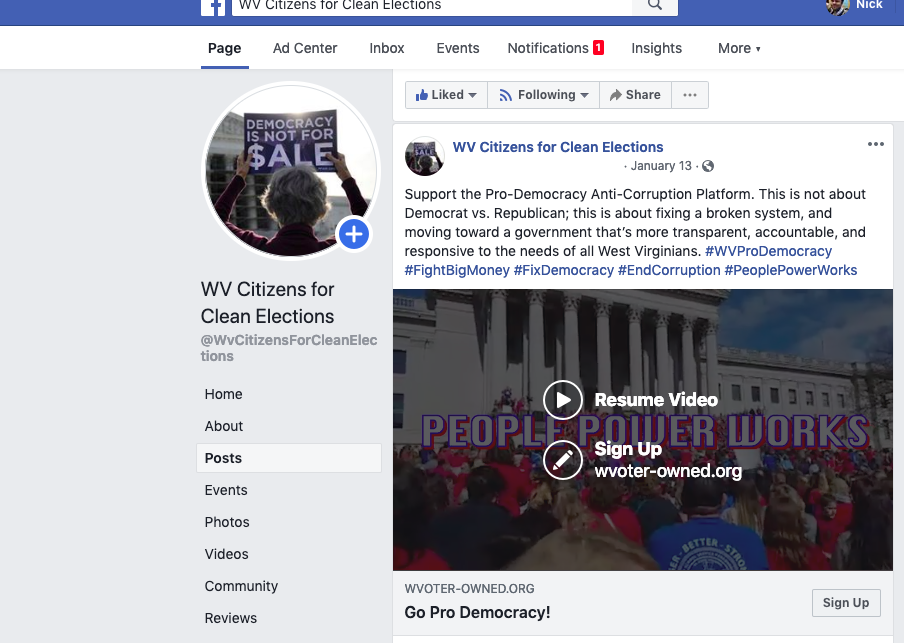 WV Clean Elections Facebook