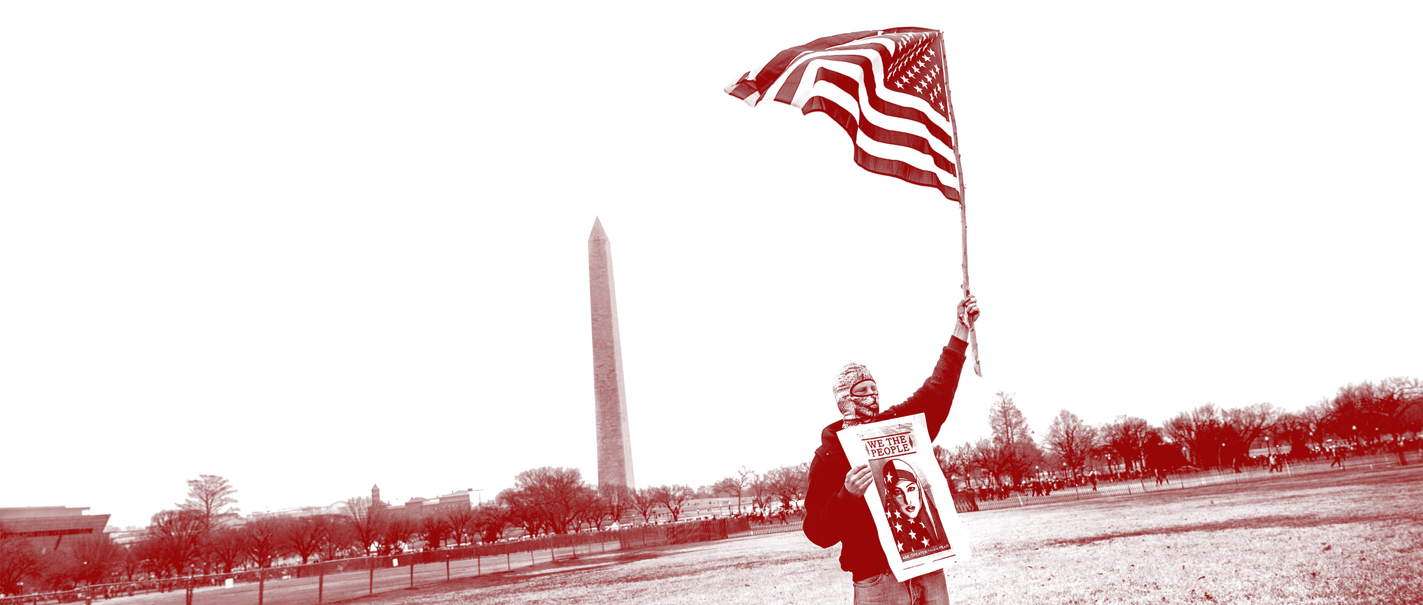 Man waves flag