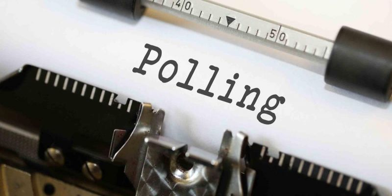 Photo of a typewritten word: polling